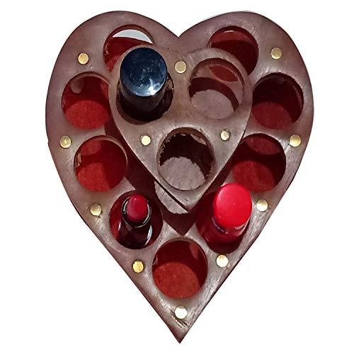 Support de rouge à lèvres en bois Support en forme de cœur, rouge à lèvres/vernis à ongles, présentoir pour décoration d'intérieur.