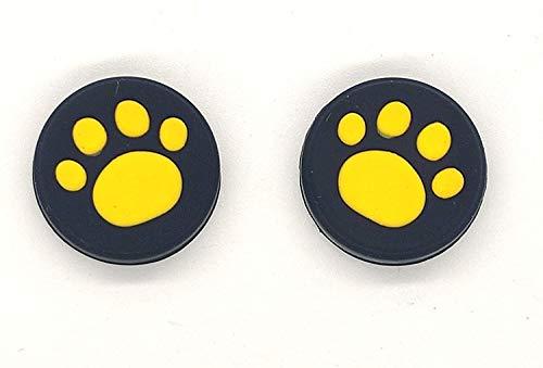 2 x Silikon-Analog-Controller-Joystick-Griffe für Nintendo Switch NS Controller Joy-Con ThumbStick Cute Cat Paw Claw (gelb)