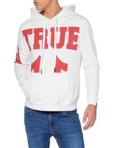 True Religion Herren Hoody True Blanc Kapuzenpullover, Weiss, S