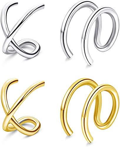 LOLIAS Mujer Pendientes Plata de Ley 925 Pendientes Aro Pequeños Ear Cuff Pendientes Clip Falso Helix Puños de Cartílago Pendientes Hipoalergénicos Pendientes Sin Agujero Mujer No Piercing Aretes