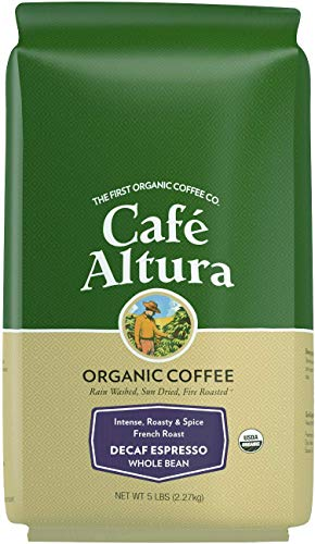 Cafe Altura Whole Bean Organic Coffee, Decaf Espresso - Water Process (Packaging May Vary)