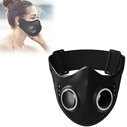 High-Tech Face-Mask, High-tech Face Mask with Breathing Valve, Adult Anti-fog Face Shield, Reusable Safety Face Shields Respirator for Adult (Black)
