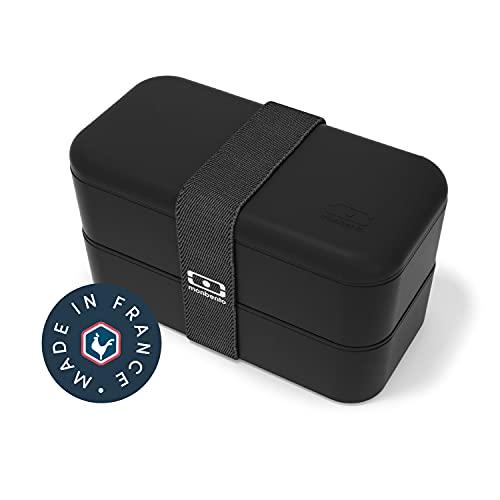 monbento - MB Original schwarz Onyx Bento Box Made in France - Brotdose mit 2 Fächer - Lunch box ideal für Büro/Meal prep/Schule