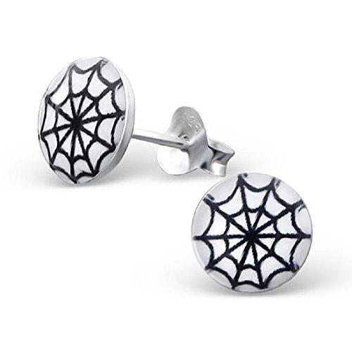 Laimons Mädchen Kids Kinder-Ohrstecker Ohrringe Kinderschmuck Spinnennetz Platte Scheibe Schwarz Weiß aus Sterling Silber 925