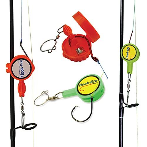 HOOK-EZE Knot Tying Tool Cover Hooks on 4 Fishing Poles | Line Cutter | 2 Sizes Saltwater Freshwater Bass Kayak Ice Fishing (HI-VIZ)