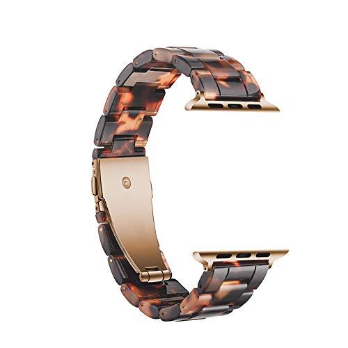 Bands Kompatibel mit Apple-Uhr-Serie 4/3/2/1, 38mm-44mm-Trägern, Mode Resin Komfortabler Band-Armband Kupfer-Edelstahl-Schnalle für Frauen Männer,40mm