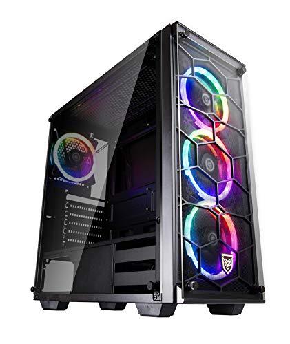 Nfortec Draco V2 Torre Gaming Negra RGB Diseño Full View (Cristal Templado) con 4 Ventiladores RGB y Controlador Inalámbrico