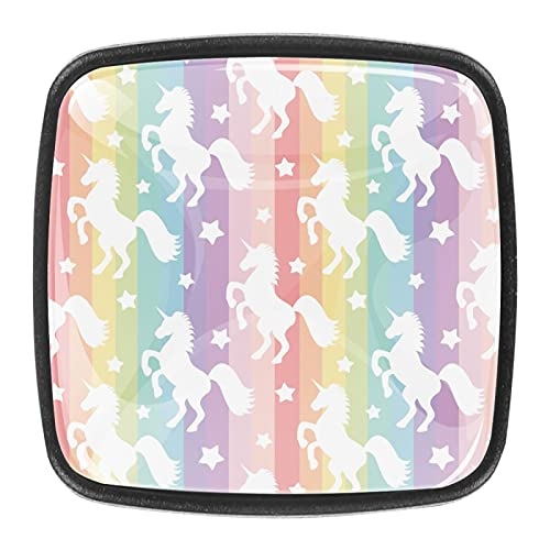 Pomos de cristal para cajones y cajones coloridos de unicornios para armarios de cocina de 1,18 pulgadas (juego de 4)