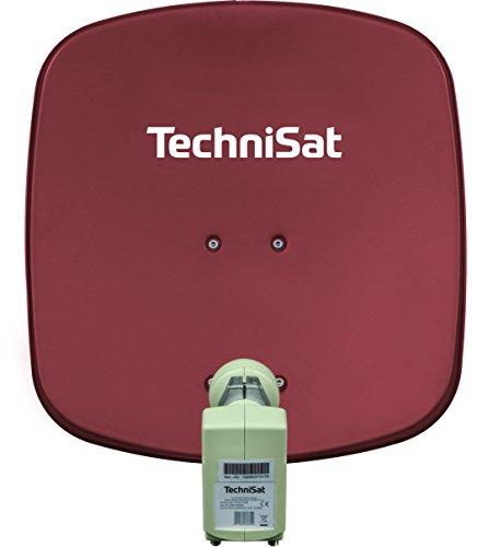 TechniSat DIGIDISH 45 – Satelliten-Schüssel für 2 Teilnehmer (45 cm kleine Sat Anlage - Komplettset mit Wandhalterung und Universal Twin-LNB) rot