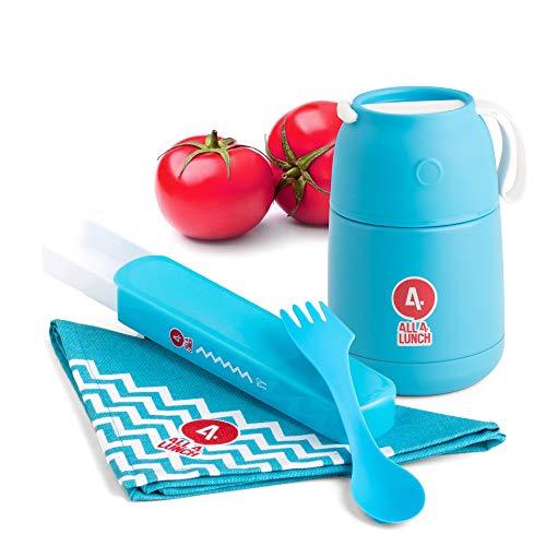 ALL4LUNCH Warmhaltebox 450ml   Die Innovative Warmhalte-Behälter inkl. Besteck-Set   hält 10 Stunden heiß & 20 Stunden kalt   BPA-frei   von Baby-Nahrung bis Mittagessen - einfach gutes Essen