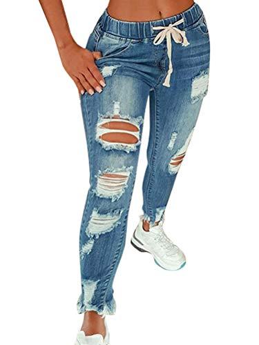 Vaqueros Mujer Rotos EláStico Rectos Tejanos Skinny Slim Boyfriend Jeans Denim lápiz Pantalones con Cordón A Azul Claro L
