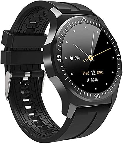 Reloj inteligente Fitness Tracker Presión arterial Monitor de ritmo cardíaco Contador de pasos, Actividad de salud al aire libre Reloj de pulsera de moda para mujer Smartwatch-Negro