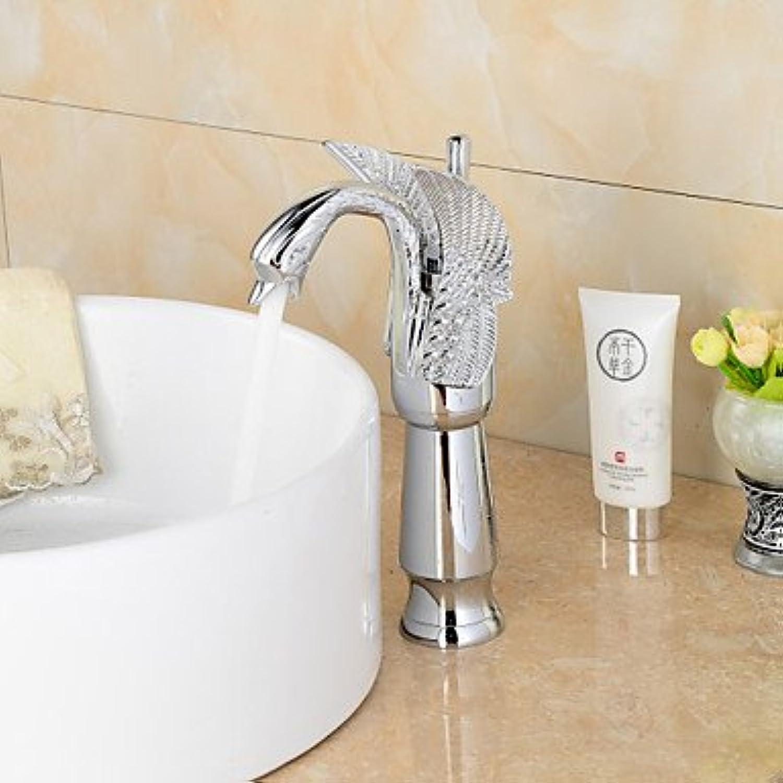 ZLL Contemporary chrome Swan-shaped bathroom wash basin faucet (high)-silver