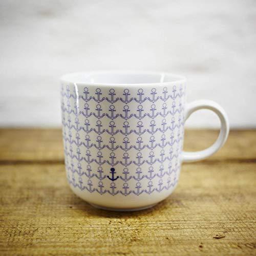 Kaffeebecher - 100% Handmade von Ahoi Marie - Motiv Ankermuster - Maritime Porzellan-Tasse original aus dem Norden