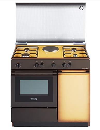 De Longhi SEK 8541 N ED - Cucina a gas con forno elettrico grill, 90x50 cm, Vano portabombola, Beige Marrone