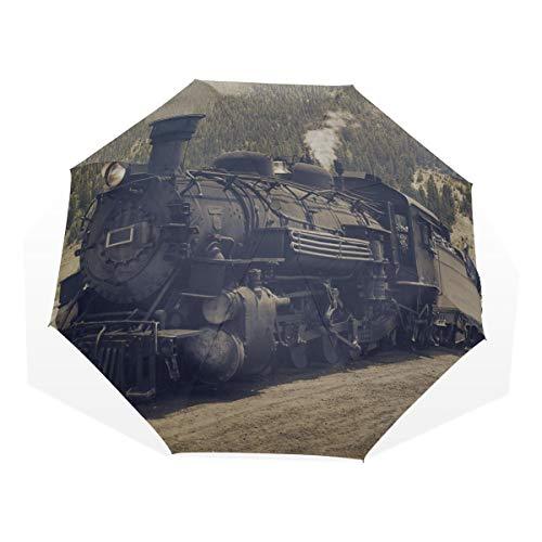 Paraguas de Viaje Vapor Negro de la Vendimia Tren eléctrico ferroviario contra...