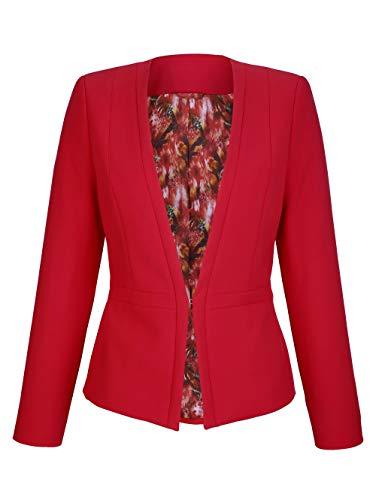 MONA Damen Blazer mit Schalkragen in Rot mit Schößchen-Optik