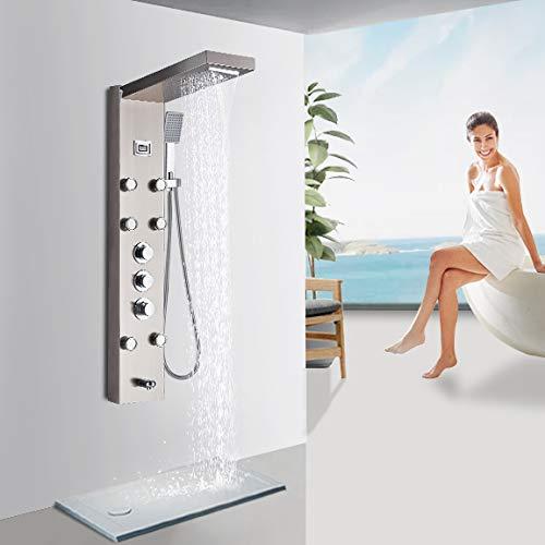 Rozin gebürstetem Nickel Duschsystem Thermostat Bildschirm 5 Funktionen, Niederschlag und Wasserfall Duschkopf Handsprüher Massagedüsen Wannenauslauf, 3 Griffe Thermostatregelung