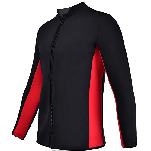 Realon Wetsuits Top Jacket Vest Mens Women 2mm Neoprene Long Sleeve/3mm Sleeveless Shirt Front Zip Sports XSPAN for Scuba Diving Surf Swimming Snorkel Suit (2mm Top Wetsuit Men/Red, L)