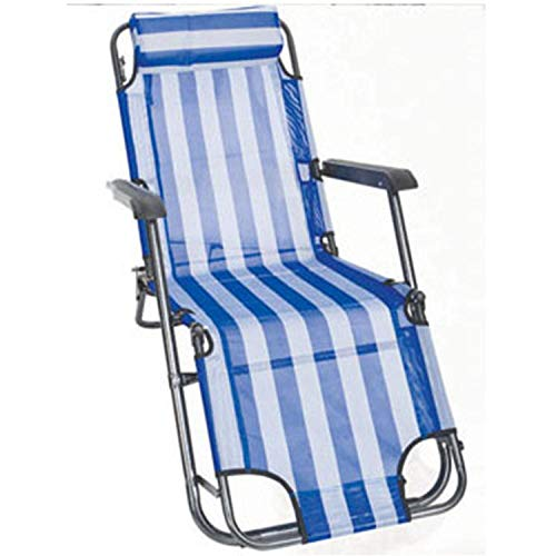 AKSHOME Camping Garten Klappstuhl, Büro Outdoor-Dual-Use-Stuhl, Strand Sonnenstuhl, Campingbett, Mittagspause, Tragbarer Liegestuhl-Oxford-Tuch 153X60X78Cm_Blau Weiss