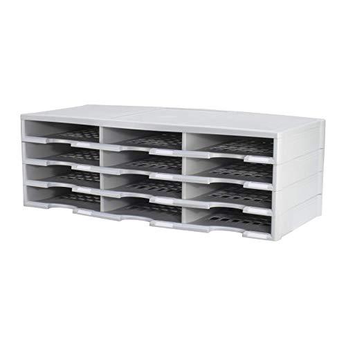 Storex Modular 12-Compartment Literature Organizer, Built-in Label Holders, Gray