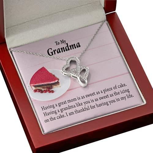 Express Your Love Gifts Collar de la abuela Grandma is The Sweetest.png 1 tarjeta de mensaje de corazón doble