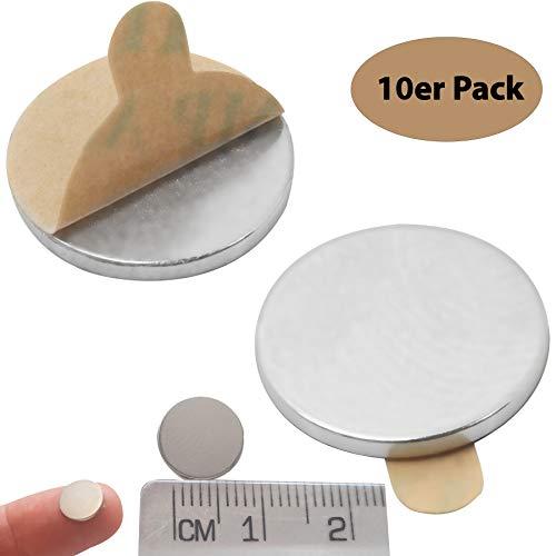 Zelfklevende magneten voor magneetbord, koelkast, notitiebord en whiteboard, extra sterke neodymium schijfmagneet, 10 x 1 mm