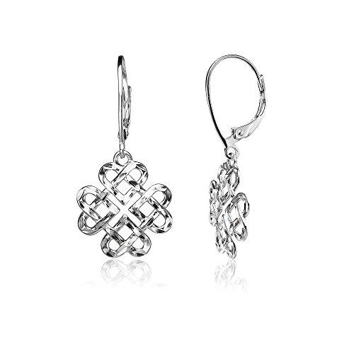 Sterling Silver Diamond-cut Celtic Heart Love Knot Leverback Earrings