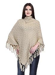 eWools Women Ladies Girls Winter Wear Self Eye Design Woolen Shrug Poncho (B11_X-Large, Brown)