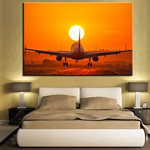 wZUN Lienzo HD impresión Cartel decoración del hogar Hoja avión Puesta de Sol Paisaje Pintura al óleo Pared Arte Imagen Sala de Estar 60x80 Sin Marco