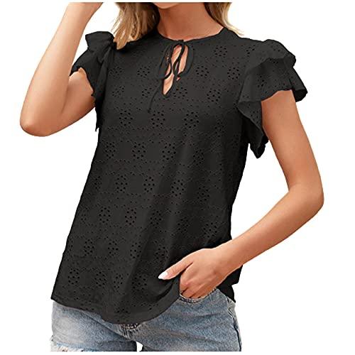 gurjs Blouse voor dames, korte mouwen, elegant, voor dames, casual, korte mouwen, van chiffon, kant, casual, sexy, T-shirt, elegant - zwart - S