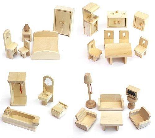 Freda Puppenmöbel Puppenhausmöbel 28 Teile + Babybett Kinderbett Bettchen