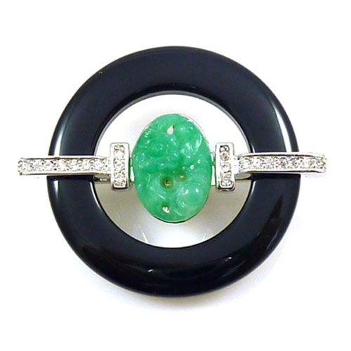Kenneth Jay Lane Black Deco Ring & Jade Centre Brooch Pin