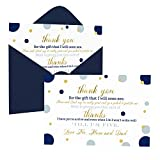 Navy Gold Baby Shower Thank You Cards and Envelopes (15 Pack) – Royal Star Party Supplies - A6 Flat Stationery Set – Abstract Dot