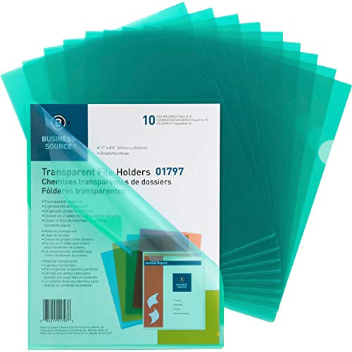 Business Source Green Transparent Poly File Holders