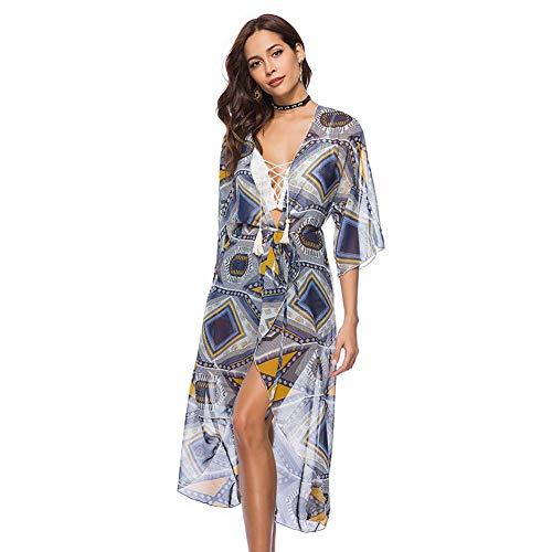 YYH Vrouwen Cardigan chiffon sjaal print Kimono Cardigan Top Cover Up blouse badmode Eén maat 1