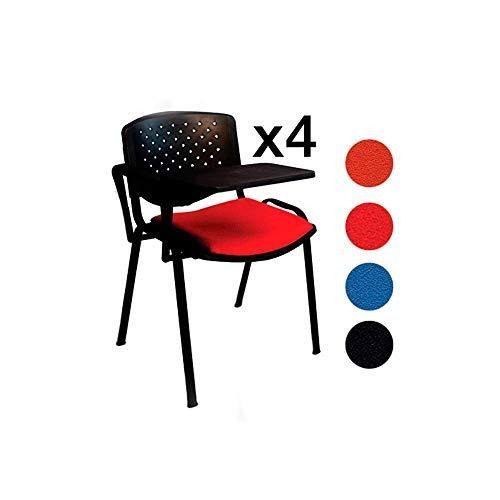 AULAMOBEL Lote De 4 Sillas Apilables con Pala Abatible para Apuntes, Modelo 45P, Sillas con Brazo Extensible y Flexible para Aulas, Academias y Oficinas