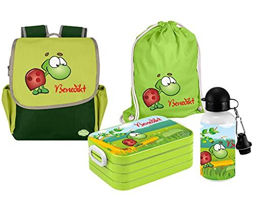 Mein Zwergenland Set 5 Kindergartenrucksack mit Brotdose, Turnbeutel und Trinkflasche Happy Knirps Next mit Name Schildkröte, 4-teilig, Grün