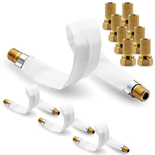 NAUC 8X F Stecker Vergoldet 4X SAT HDTV Fensterdurchführung flach Antennen Kabel 22,5 cm ohne Bohren Flachkabel selbstklebend F-Buchse F-Verbinder vergoldet