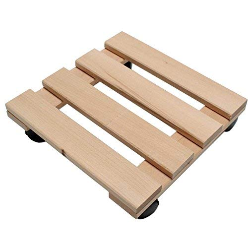 Unbekannt Pflanzenroller Holz MASSIV aus stabilem Buchenholz eckig 30 cm x 30 cm bis 120 KG (1)