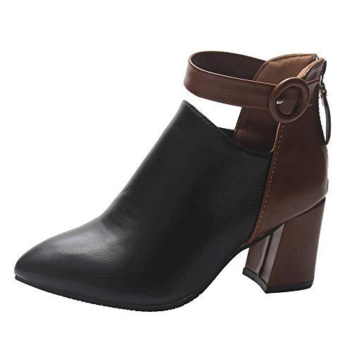 JUNMAONO Stiefeletten Damen Stiefelspanner Damenleder High Heels Stiefel Booties Weiblichen Spitzen...