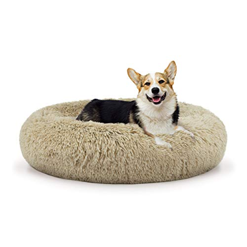 The Dog's Bed Sound Sleep Donut Dog Bed, Med Dog Biscuit Beige Plush Removable Cover Premium Calming Nest Bed
