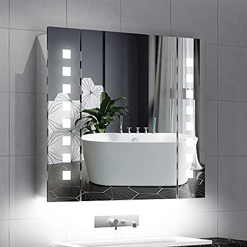 Quavikey® LED Miroir Armoire en Aluminium Miroir Armoire de Salle de Bains avec éclairage illuminé Miroir Armoire rétro-éclairage Prise Rasoir Anti-buée capteur IR commutateur 65x60cm