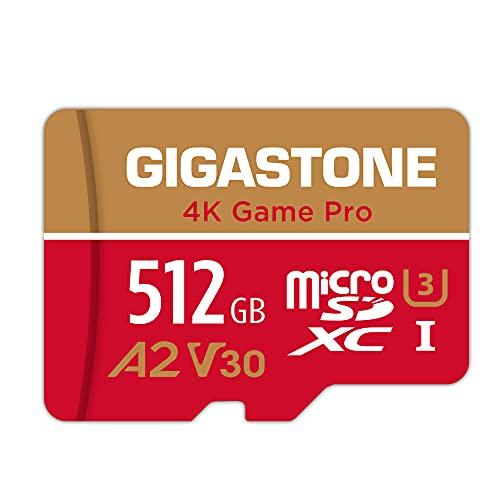 Gigastone Game Pro 512GB MicroSDXC Speicherkarte und SD-Adapter, Kompatibel mit Nintendo Switch, Lesegeschwindigkeit bis zu 100/80 MB/s für 4K Videoaufnahme, Micro SD Karte UHS-I A2 V30 Klasse 10 U3