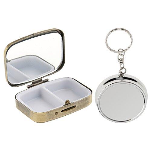 F Fityle 2 Größe Reise Vitamin Behälter Aufbewahrungspille Box Fall 3 Steckplätze / 2 Fächer