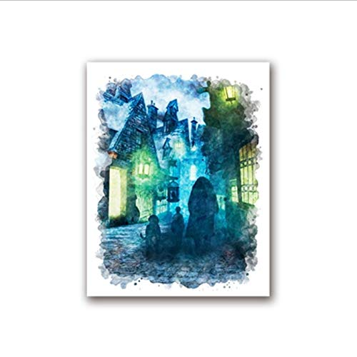 yhnjikl Harry Potter Acuarela Impresiones de Arte Hagrid Y Fang Poster Pintura de la Lona Flying Key Llave de Pared Imprime la Habitación de los Niños Decoración 40X60Cm Sin Marco