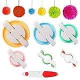 Pompom Maker, 6 tamaños juego de herramientas para hacer pompones de con agujas de tijeras y cortador de hilo, kit de herramientas de lana para bricolaje para tejer bolas de pelusa