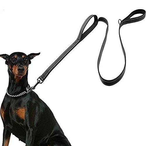 HRYSPN Correa Perro Grande, Correa adiestramiento Perro, Resistente con Dos Asas Acolchadas en Negro, 1,50 m