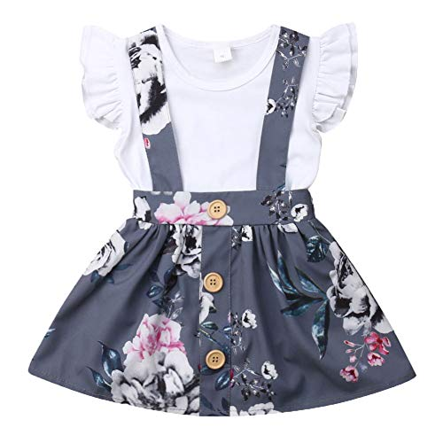 Toddler Infant Baby Girl Clothes Set Short Sleeve Ruffle Shoulder White...