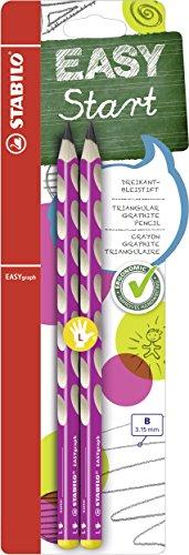 Ergonomischer Dreikant-Bleistift für Linkshänder - STABILO EASYgraph in pink - 2er Pack - Härtegrad B